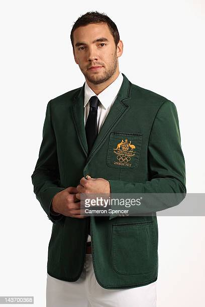 Australian basketballer Adam Gibson poses during a portrait session with members of the the Australian 2012 Olympic Games squad at Quay restaurant on...
