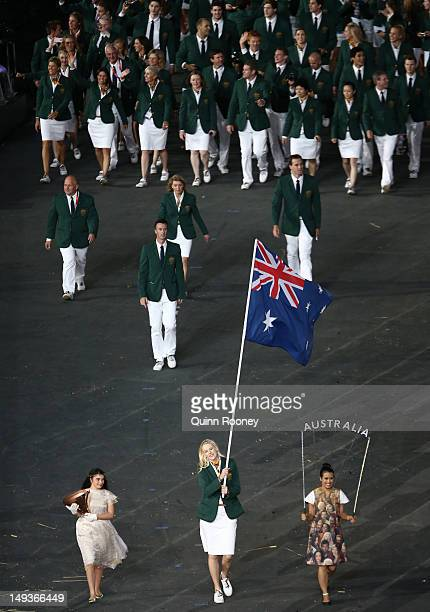 Australian basketballer and flag bearer Lauren Jackson leads the Australian team into the stadium during the Opening Ceremony of the London 2012...