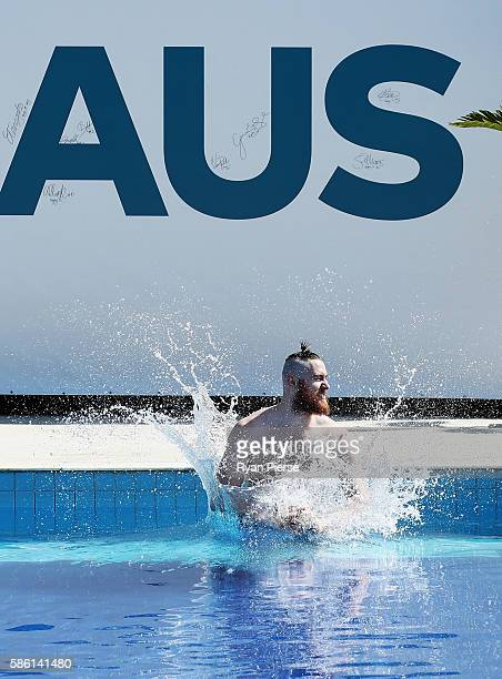 Australian Basketballer Aron Baynes swims during a recovery session at The Edge on August 5 2016 in Rio de Janeiro Brazil