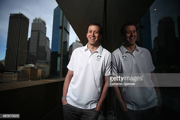 Australian basketballer Joe Ingles poses during an Australian Olympic press conference at Museum of Contemporary Art on August 5, 2015 in Sydney,...