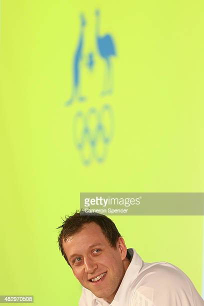 Australian basketballer Joe Ingles talks to media during an Australian Olympic press conference at Museum of Contemporary Art on August 5, 2015 in...