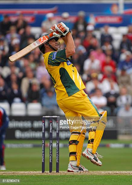 Australian batsman Adam Gilchrist hits Darren Gough for 6 during the NatWest Challenge One Day International between England and Australia at...
