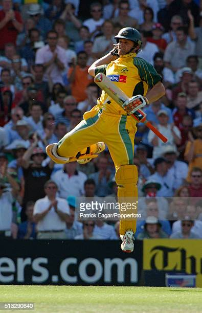 Australian batsman Adam Gilchrist reaches his century during the NatWest Challenge One Day International between England and Australia at The Oval...