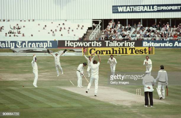 Australian batsman Allan Border is bowled by Chris Old for 0 as from left to right Mike Gatting wicketkeeper Bob Taylor Mike Brealey Graham Gooch and...