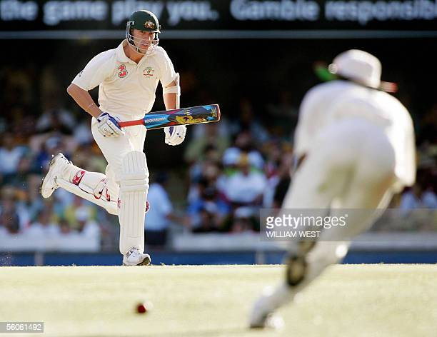 Australian batsman Brett Lee takes off for a quick single against the West Indian bowling on the first day of the first Test match at Gabba, in...