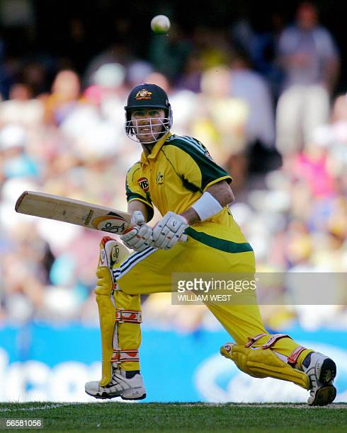 Australian batsman Damien Martyn hits a ball to square during their one-day match against Sri Lanka in Melbourne, 13 January 2006. Australia scored...