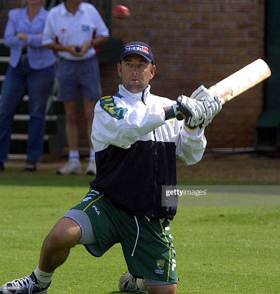 Australian batsman Darren Lehmann practices at the Harare Sports Club 20 May 2004 ahead of the match, which is supposed to start 22 May 2004. The match between Zimbabwe and Australia is now uncetain due to the squables between the Zimbabwe Cricket Union and Zimbabwean players.