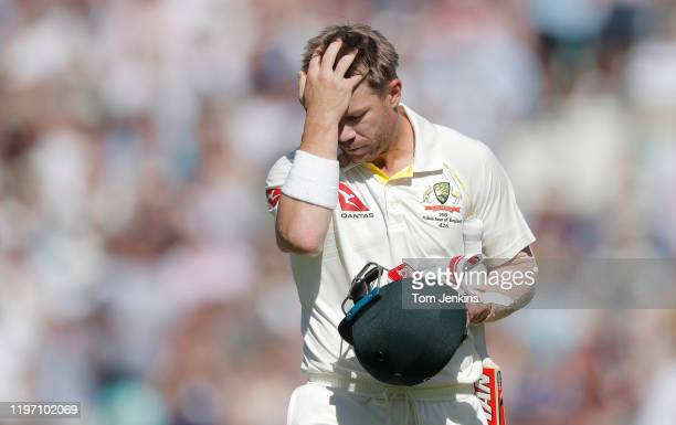 Australian batsman David Warner walks off after his dismissal during day four of the England v Australia 5th Ashes test match at The Oval on...
