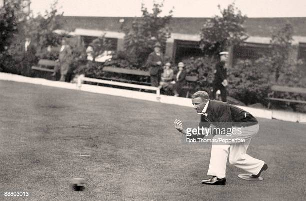 Australian batsman Don Bradman playing bowls in Bradford prior to the 3rd Test match at Headingley Leeds 8th July 1930