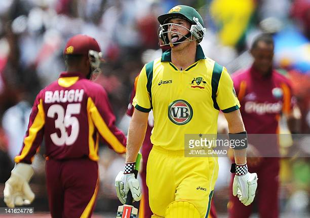 Australian batsman George Bailey reacts after being dismissed during the thirdoffive One Day International matches between West Indies and Australia...