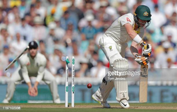 Australian batsman Marcus Harris is bowled by Stuart Broad during day four of the England v Australia 5th Ashes test match at The Oval on September...