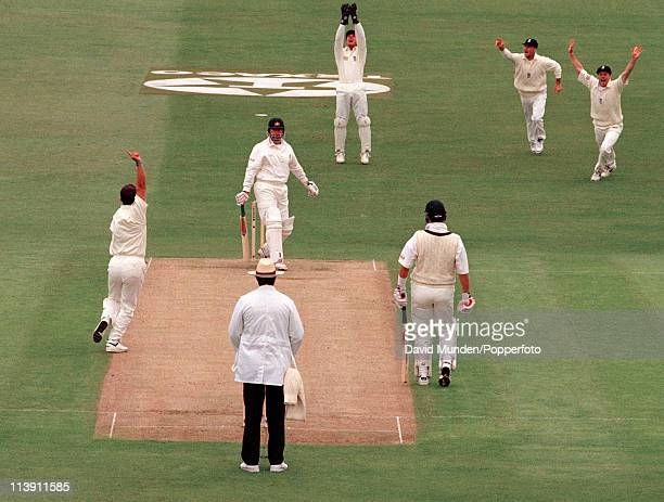 Australian batsman Mark Taylor is out for 7 runs caught by Alec Stewart off the bowling of Darren Gough during the 1st One Day International match...