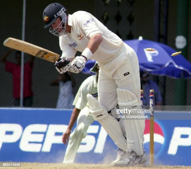 Australian batsman Mark Waugh is clean bowled on the very first ball he faced by Pakistani bowler Shoaib Akhtar on the 3rd day's play of the first...