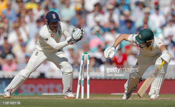 Australian batsman Marnus Labuschagne is stumped by Jonny Bairstow off the bowling of Jack Leach during day four of the England v Australia 5th Ashes...
