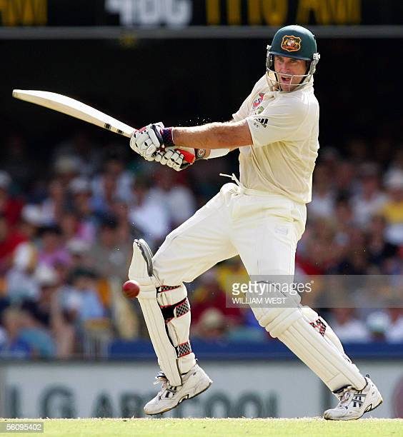 Australian batsman Matthew Hayden hits out against the West Indian bowling on the third day of the first Test match at the Gabba in Brisbane 05...
