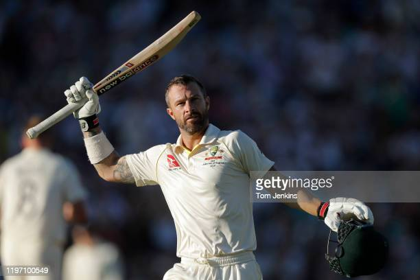 Australian batsman Matthew Wade celebrates his century during day four of the England v Australia 5th Ashes test match at The Oval on September 15th...