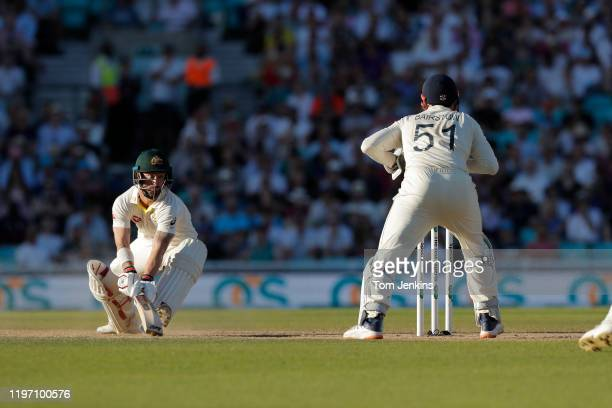 Australian batsman Matthew Wade is stumped by Jonny Bairstow during day four of the England v Australia 5th Ashes test match at The Oval on September...