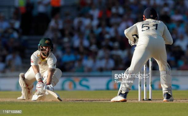 Australian batsman Matthew Wade just evades being stumped by Jonny Bairstow during day four of the England v Australia 5th Ashes test match at The...