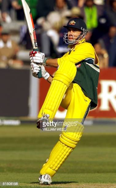 Australian batsman Michael Bevan hooks a ball to the boundary in their one-day match against Pakistan played at Sophia Gardens in Cardiff, Wales 09...