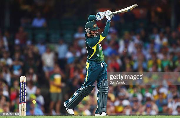 Australian batsman Michael Clarke drives Chris Jordan for four during game three of the One Day International Series between Australia and England at...