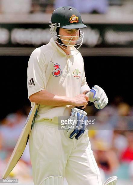 Australian batsman Michael Clarke looks dejected after another batting failure when dismissed by West Indian paceman Corey Collymore on the first day...