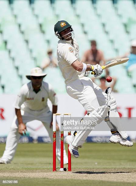Australian batsman Phillip Hughes avoids a bounce on March 8 2009 during the third day of the second Test match bewteen South Africa and Australia at...
