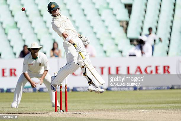 Australian batsman Phillip Hughes takes evasive action to avoid a bounce on March 8 2009 during the third day of the second Test match between South...