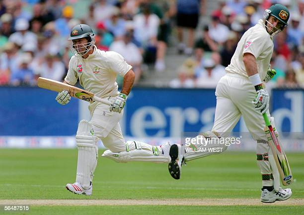 Australian batsman Ricky Ponting and teammate Matthew Hayden set off for more runs against South Africa on the first day of the second Test Match...