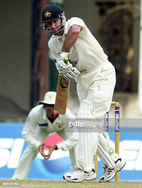 Australian batsman Ricky Ponting bats a ball for four during the first day of the first cricket test match between Australia and Pakistan at Tamil...