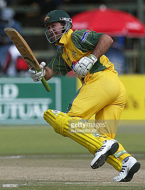 Australian batsman Ricky Ponting makes a run before being courtout during the second One Day International match Aautralia vs Zimbabwe in Harare 27...