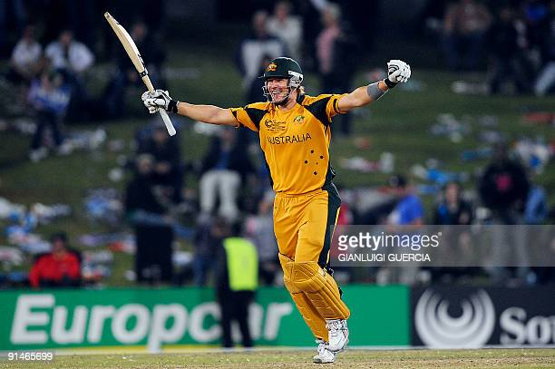 Australian batsman Shane Watson celebrates after scoring a six and winning the match against New Zealand on October 5 2009 during the ICC Champions...