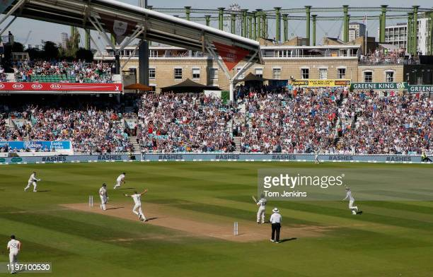 Australian batsman Steve Smith is caught by Ben Stokes off Stuart Broad during day four of the England v Australia 5th Ashes test match at The Oval...