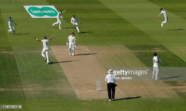 Australian batsman Steve Smith is caught by Ben Stokes off the bowling of Stuart Broad during day four of the England v Australia 5th Ashes test...