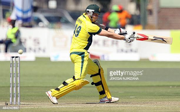 Australian batsman Steve Smith is in action during the match between Australia and South Africa in the one day international triseries which includes...