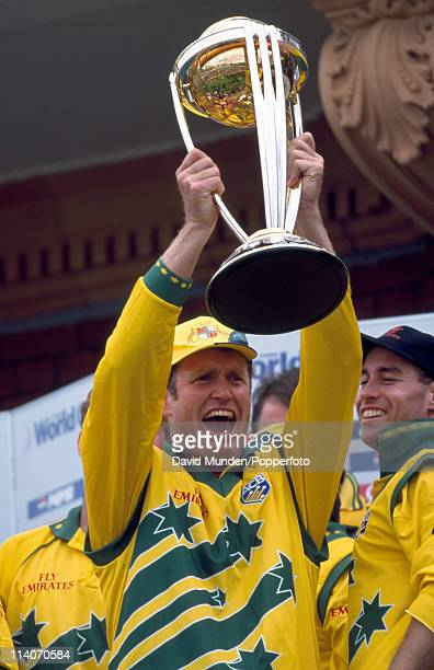 Australian batsman Tom Moody holding the trophy after the World Cup Final between Australia and Pakistan at Lord's Cricket Ground in London 20th June...