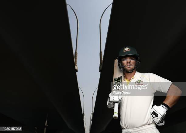 Australian batsman Travis Head poses during a portrait session on October 06 2018 in Dubai United Arab Emirates