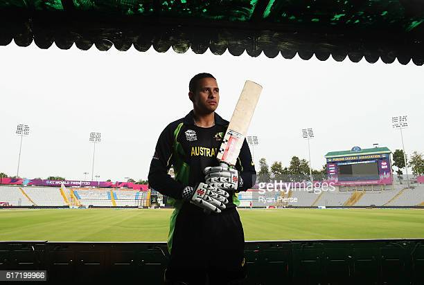 Australian batsman Usman Khwaja poses during a portrait session at IS Bindra Stadium ahead of the ICC WT20 match between Australia and Pakistan on...
