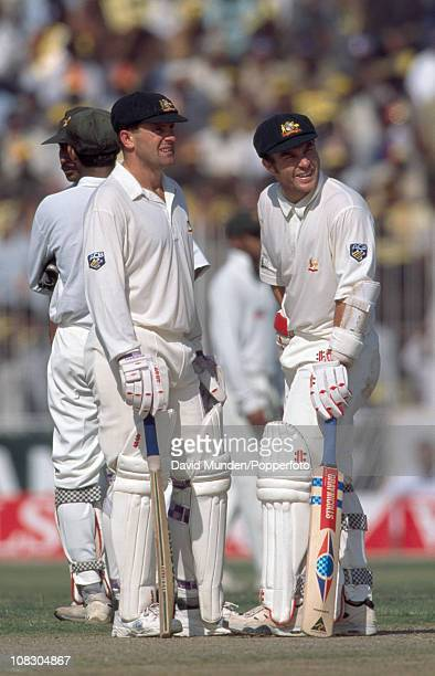 Australian batsmen Mark Taylor and Michael Slater during the Wills Cup Final between Pakistan and Australia played at the Gaddafi Stadium in Lahore...