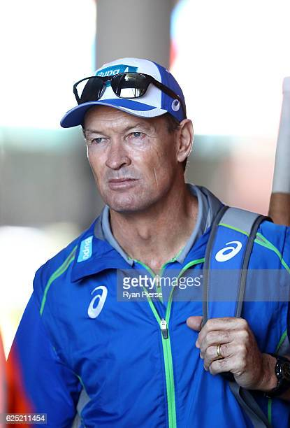 Australian Batting Coach Graeme Hick looks on during an Australian nets session at Adelaide Oval on November 23 2016 in Adelaide Australia