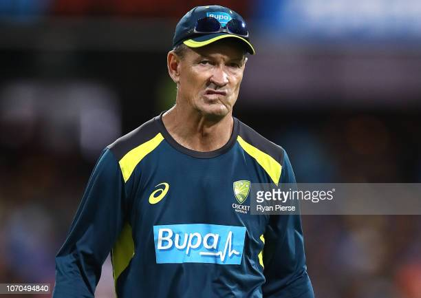 Australian Batting Coach Graeme Hick looks on during game one of the the International Twenty20 series between Australia and India at The Gabba on...