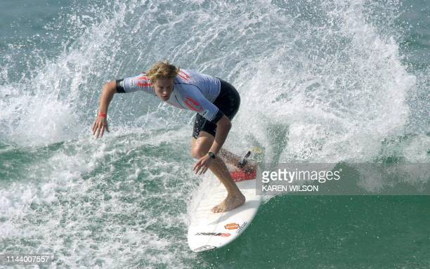 Australian Bede Durbridge wins his heat to advance to the round of 128 surfers at the Mr Price Pro at Durban's North Beach South Africa 09 July 2003...