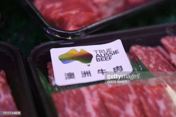 Australian beef is seen at a supermarket in Beijing on May 12, 2020. - China suspended imports from four major Australian beef suppliers on May 12,...