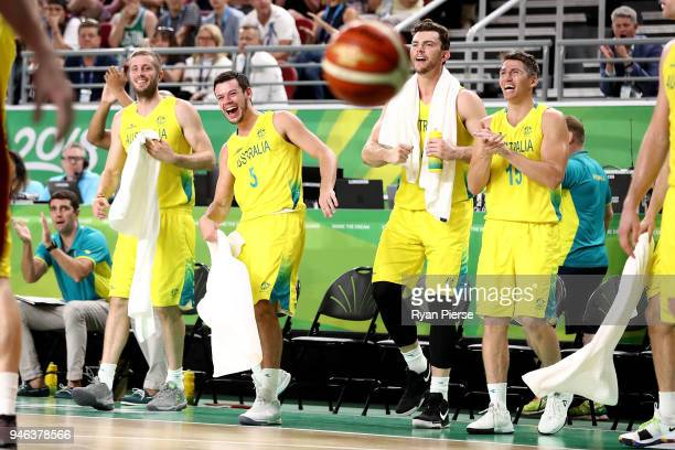 Australian bench celebrate during the Men's Gold Medal Basketball Game between Australia and Canada on day 11 of the Gold Coast 2018 Commonwealth...