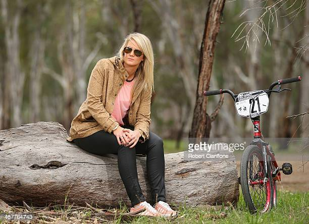 Australian BMX rider Lauren Reynolds poses during a portrait session during the Australian BMX Championships on May 2, 2014 in Shepparton, Australia.