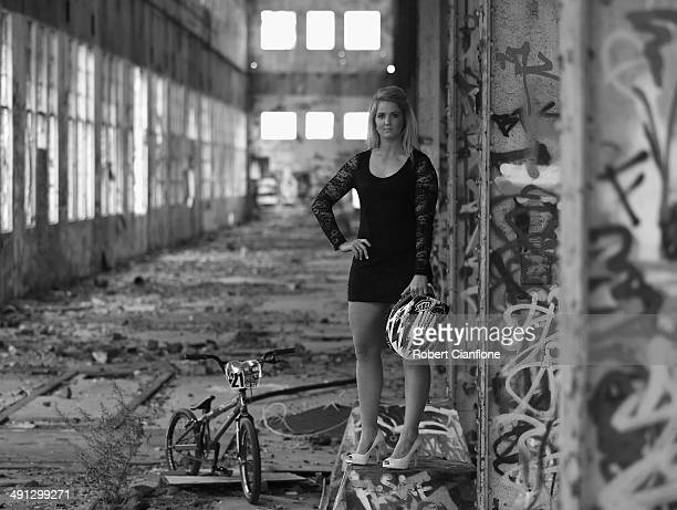 Australian BMX rider LaurenReynolds poses during a portrait session on May 16, 2014 in Perth, Australia.
