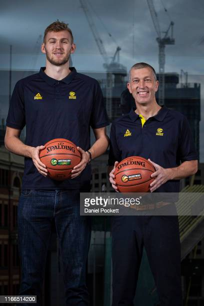 Australian Boomer Jock Landale and Boomers head coach Andrej Lemanis pose for a photo during the Australian Boomers team announcement at Crown...