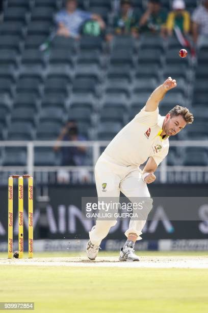 Australian bowler Chadd Sayers bowls on South African batsman Aiden Markram during the first day of the fourth cricket Test match between South...