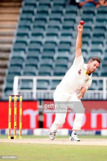 Australian bowler Chadd Sayers bowls on South African batsman Temba Bavuma on the second day of the fourth Test cricket match between South Africa...