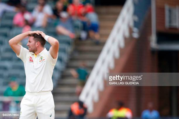 Australian bowler Chadd Sayers reacts on the second day of the fourth Test cricket match between South Africa and Australia won by South Africa at...