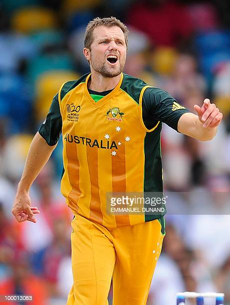 Australian bowler Dirk Nannes reacts during the ICC World Twenty20 Super Eight match between Australia and India at the Kensington Oval on May 7 2010...